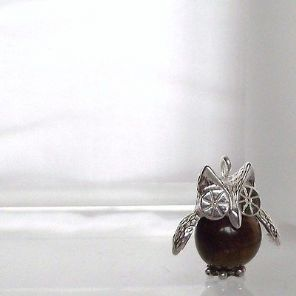 Stunning Hand made Sterling Silver & Tigers Eye Barney Owl Charm Pendant